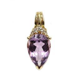 "14K Yellow Gold Pear Shaped Amethyst & Diamond Pendant 1"" Fine Jewelry"