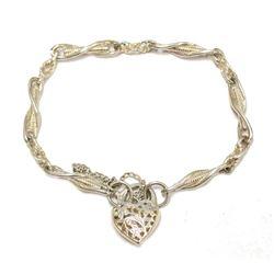 """Sterling Silver Heart Pendant Clasp Twist Link Bracelet Fine Jewelry 5"""" with lengthener Fine Jewelry"""