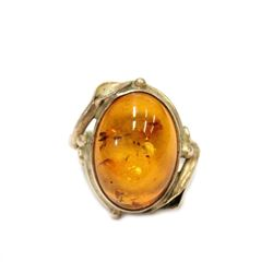Lively Ancient Amber Ring with traces of insects wings Crafted in Sterling Silver Size 6.5
