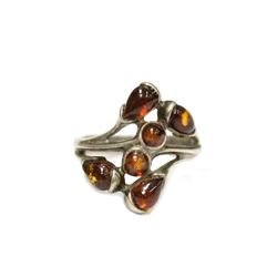 Incredible Ancient Red Hue Amber Ring with traces of insects wings Crafted in Sterling Silver Size 8
