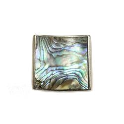 """1"""" Square Mother of Pearl Sterling Silver Ring size 6.5 weighs 10.7 grams"""