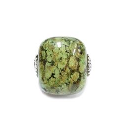 Large Cabochon Lime Green Turquoise Stone Ring Crafted in 925 Sterling Silver Size 6.5
