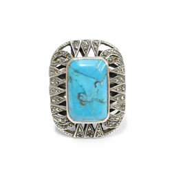 """Large Blue Turquoise """"Dead Pawn"""" Sterling Silver Ring Size 11"""