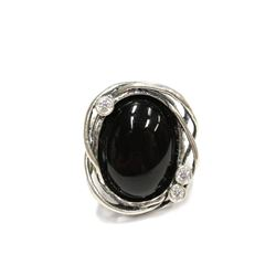 Modern vine wrapped Black Onyx Sterling Silver Ring Size 8