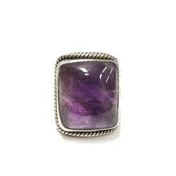 Big Gypsy Style Cabochon Amethyst Silver Ring Size 8