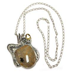 Robert Hache 14K Gold & Silver Citrine Dentrite Designer Jewelry Pendant Chain Necklace