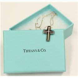 """Tiffany & Co. Paloma Picasso Tenderness Heart Cross Pendant 925 Necklace 18"""""""