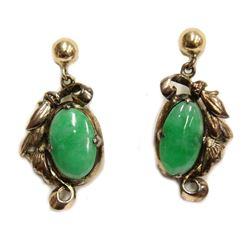 18 Karat Yellow Gold Green Jadeite Earrings Fine Jewelry