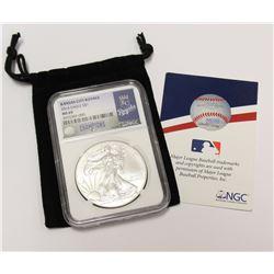 2014 USA 9999 1oz Silver Eagle NGC MS 69 MLB Kansas City Royals American League Champions Baseball