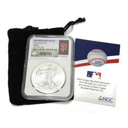 2014 USA 9999 1oz Silver Eagle NGC MS 69 MLB San Francisco Giants National League Champions Baseball