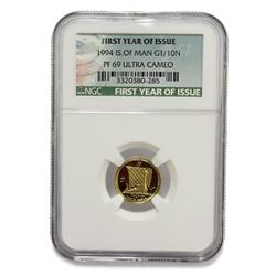 1994 Isle of Man .9999 Gold 1/10 oz Coin NGC PF 69 Ultra Cameo First Year Issue
