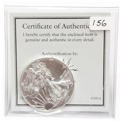 2015 1 oz Fine Silver Eagle Coin with Holder & COA