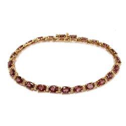 14K Rose Gold Garnet & Diamond Tennis Bracelet Certified Appraisal Value $3000.00 USD