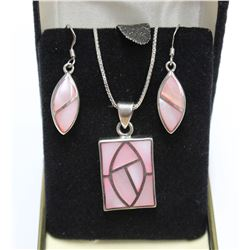 """Sterling Silver Pink Shell Earring & Pendant Necklace Box Chain length 16"""" matching set with Box"""