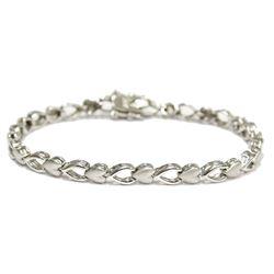 """Sterling Silver Heart Link Bracelet 7"""" Fine Jewelry"""
