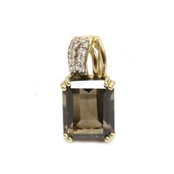 "10K Yellow Gold 4.25ct Smoky Quartz Pendant Charm 3/4"" Fine Jewelry"