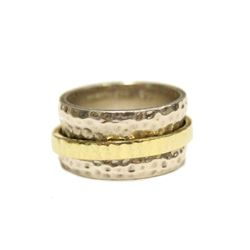 Mens Sterling Silver Band Size 9 Spinning Gold Center Ring Fine Jewelry