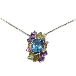 """New Sterling Silver Floral Mosaic Gemstone Pendant & Silver Chain Necklace 18"""" Fine Jewelry"""