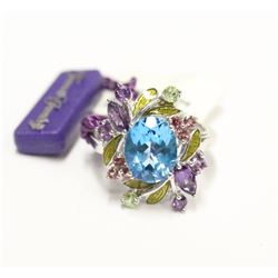 New Sterling Silver Floral Mosaic Gemstone Ring Size 6.5 Matches Previous listing Fine Jewelry
