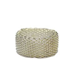 New Solid Sterling Silver Mesh Ring Intricate Chainmail Link Size 9 Fine Jewelry