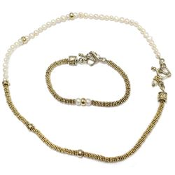 Beautiful Modern Sterling Silver Pearl Toggle clasp Bracelet & Necklace Set