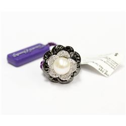 New Floral Pearl & Diamond Ring with Black Enamel set in Sterling Silver Size 7