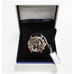 Seiko Premier Kinetic Rose Gold SS Chronograph Men's Watch SNL044 with Box