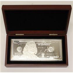 2014 $100 1 oz 999 Pure Silver Banknote Washington Mint Wooden Display Box COA