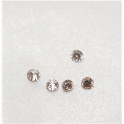 5x VS2 - SI1 Fancy Light Pink Diamonds Round Brilliant Cut stones .075tcw carats