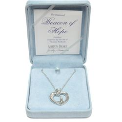 "New Ashton Drake Thomas Kinkade Diamond Pendant Necklace 18"" Length Fine Jewelry"