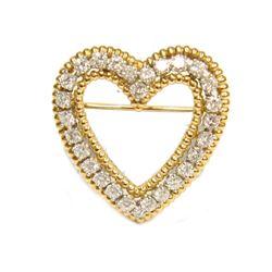 18K Yellow Gold Platinum 2.08 carats VS Diamond Heart Brooch Fine Jewelry