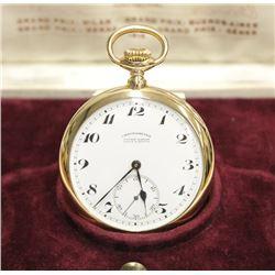 1921 Ulysse Nardin 18K Gold Pocket Watch Chronometer with original Presentation box