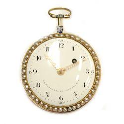 18 Karat Gold Chevalier & Compagnie Pocket Watch Free Mason Circa 1820s