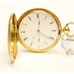 Breitling Laederich 18K Gold KW KS Hunter Pocket Watch circa 1800s