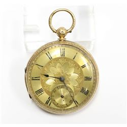 18K Solid Gold Chester England 1850 Pocket Watch