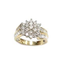 10 Karat Yellow Gold Ladies Diamond Ring 1.18 TCW  Size 7