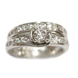 14 Karat White gold .42 Diamond Engagement Ring Wedding band