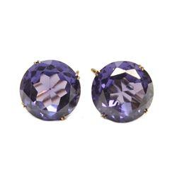 Pair of 14 Karat Yellow Gold Alexandrite-like Earrings Fine Jewelry