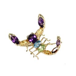 14 Karat Gold Scorpion Pendant with Diamonds Peridot Citrine Garnet Topaz Amethyst