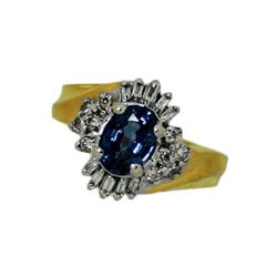14k gold 1.07 carat Sapphire Diamond Ladies Ring
