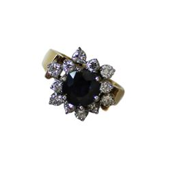 2.62ct Blue Sapphire 14k Gold Diamond Ring Fine Jewelry