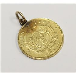 1897 South African Gold half Pond coin with Pendant loop