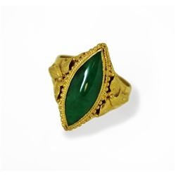 22k Gold Ladies Jade Ring Deep Green Appraisal $3000