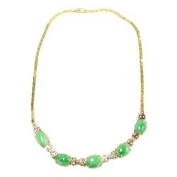 14K Burmese Jade & Diamond Lavaliere Gold Necklace