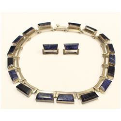Vintage Modernist TILO Mexico Sterling Silver Blue Sodalite Stone Necklace Earrings