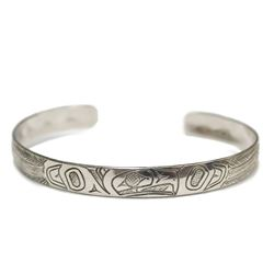 Northwest Coast Native carved Silver Eagle Bracelet