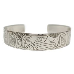 Northwest Coast Native carved Silver Eagle Bracelet signed ND