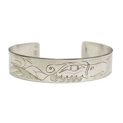 Northwest Coast Native carved SUN & THUNDERBIRD Silver Bracelet