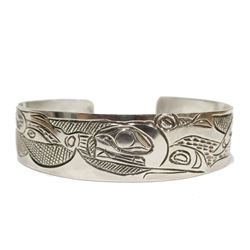 Northwest Coast Native carved Silver Bracelet Whale chasing Salmon