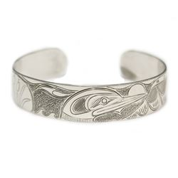 Northwest Coast Native Silver carved Loons Bracelet Dennis Matilpi